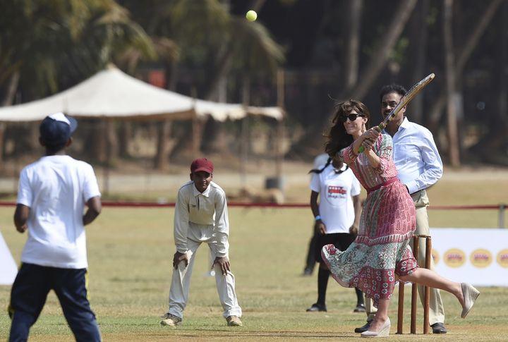 Nice follow through on that swing,Catherine, Duchess of Cambridge.