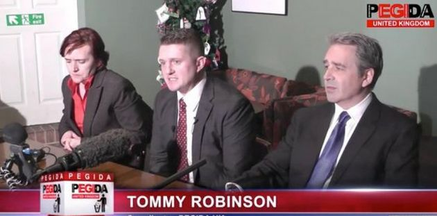 Robinson was arrested days after he announced the new leaders of Pegida UK, pictured with him