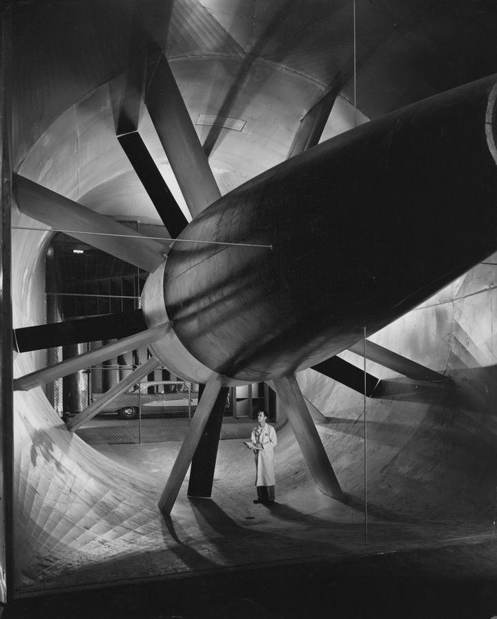 A wind tunnel at Ford Dearborn Engineering Center, 1958.