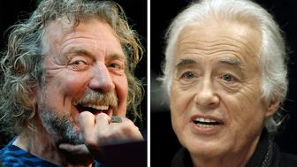 "Lead singer Robert Plant (L) and guitarist Jimmy Page of the British rock band Led Zeppelin are shown in these October 9, 2012 and July 21, 2015 combination file photos in New York and Toronto.  The Led Zeppelin founders must face a U.S. jury trial over whether they stole opening chords for their 1971 classic ""Stairway to Heaven."" The trial is scheduled May 10, 2016.  REUTERS/Carlo Allegri, Hans Deryk"