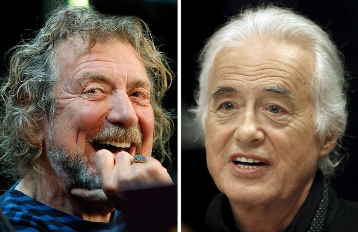 "Robert Plant, left, and Jimmy Page of Led Zeppelin are accused of stealing the opening chords to ""Stairway to Heaven."""