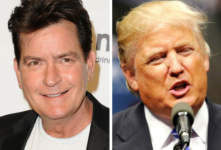 (L) Actor Charlie Sheen and GOP candidate Donald Drumpf.
