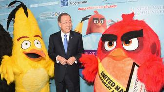 "NEW YORK, NY - MARCH 18:  UN Secretary General Ban Ki-Moon (C) attends the United Nations Ceremony, Presentation and Photo Call naming Red, from the 'ANGRY BIRDS"" movie, Honorary Ambassador for the International Day of Happiness, to be observed around the world on March 20th, at United Nations on March 18, 2016 in New York City.  (Photo by Michael Loccisano/Getty Images for Sony Pictures Entertainment)"