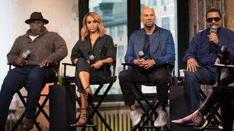 NEW YORK, NEW YORK - APRIL 11:  (L-R) Cedric the Entertainer, Eve, Common and Ice Cube discuss 'Barbershop: The Next Cut' at AOL Studios In New York on April 11, 2016 in New York City.  (Photo by Adela Loconte/WireImage)
