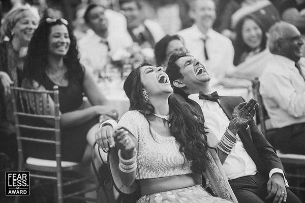 """""""If a shared sense of humor is a predicator of a happy marriage, this couple's perfectly matched belly laughs seem like an au"""