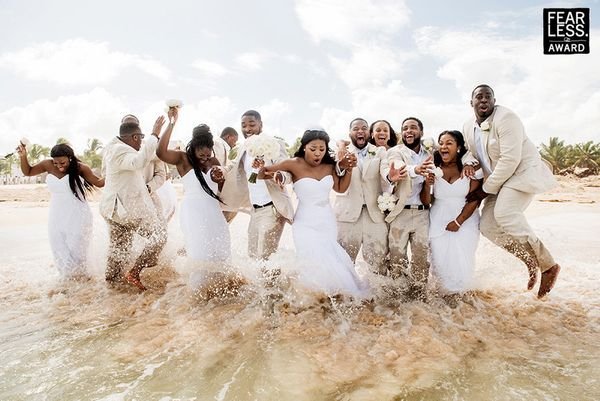 """""""When you plan a beach wedding, one of the guests you might not account for is Mother Nature! When the waves invaded this gro"""