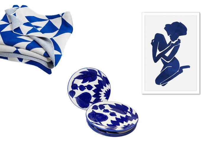 "<strong>Wall Art:&nbsp;</strong>Elizabeth Lever, Indigo Elena, $269; <a href=""https://www.onekingslane.com/p/3674727-elizabeth-lever-indigo-elena?cat=260"" target=""_blank"">onekingslane.com</a><strong><br /><br />Throw: </strong>Happy Habitat Geometric Throw, $160; <a href=""http://www.westelm.com/products/lcl-happy-habitat-geometric-throw-b1804/?pkey=cthrow-blankets%7C%7C"" target=""_blank"">westelm.com</a><strong><br /><br />Plates:&nbsp;</strong>Le Souk Ceramique Jinane Design Side Plates, $36.99 for set of 4; <a href=""http://www.overstock.com/Worldstock-Fair-Trade/Le-Souk-Ceramique-Jinane-Design-Side-Plates-Set-of-4/10319716/product.html?refccid=FDSETTMCYS433YCAEZSRDIVXNU&amp;searchidx=12"" target=""_blank"">overstock.com<br /></a>"