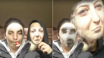 A couple using a face swapping app as one of them vaped saw one of their faces literally float away in a cloud.