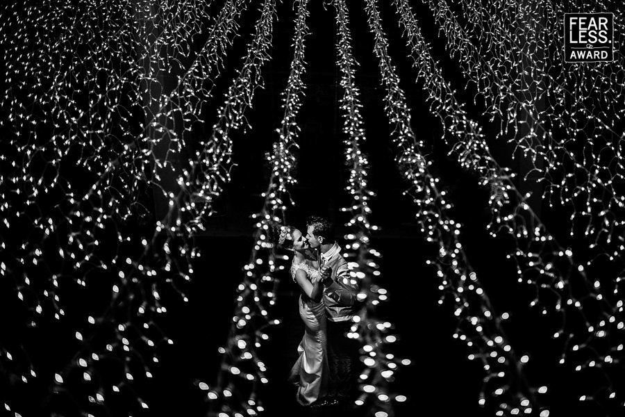 """""""A seemingly infinite field a fairy lights created the perfect magical setting for a dance portrait. Peering down through the"""
