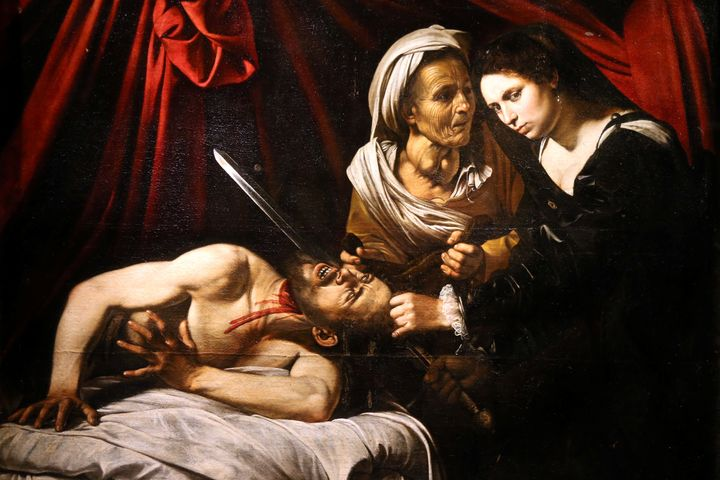 """A detail of a painting entitled """"Judith Beheading Holofernes"""" is pictured during its presentation in Paris, France, April 12,"""