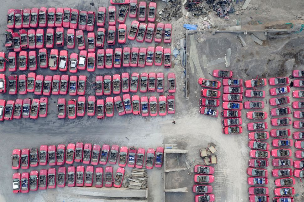 "Scrapped taxis line up in a parking lot in Taiyuan after the city&nbsp;<a href=""http://www.cctv-america.com/2016/03/03/north-"
