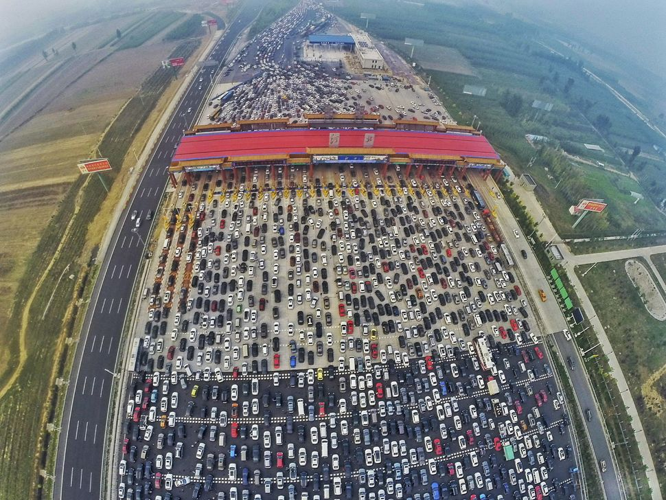 "Hundreds of thousands of vehicles are stuck at&nbsp;a toll station near Beijing as people return home after a <a href=""https:"