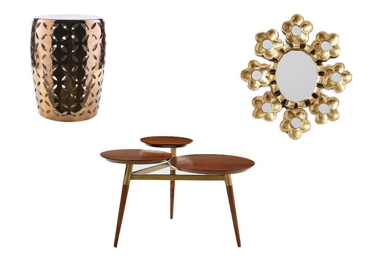"""<strong>Table: </strong>Clover Coffee Table, $199; <a href=""""http://www.westelm.com/products/clover-coffee-table-walnut-antique-brass-h1486/?pkey=ccoffee-side-tables%7Ccoffee-tables%7C"""" target=""""_blank"""">westelm.com</a><br /><strong><br />Stool</strong>: Chantilly Ceramic Garden Stool in Tan, $125; <a href=""""https://www.onekingslane.com/p/4420556-chantilly-ceramic-garden-stool-tan"""" target=""""_blank"""">onekingslane.com</a><br /><br /><strong>Mirror</strong>: Peruvian Artisan Mirror, $59; <a href=""""http://www.westelm.com/products/peruvian-artisan-mirrors-w1180/?pkey=cdecorative-mirrors%7C%7C"""" target=""""_blank"""">westelm.com</a>"""