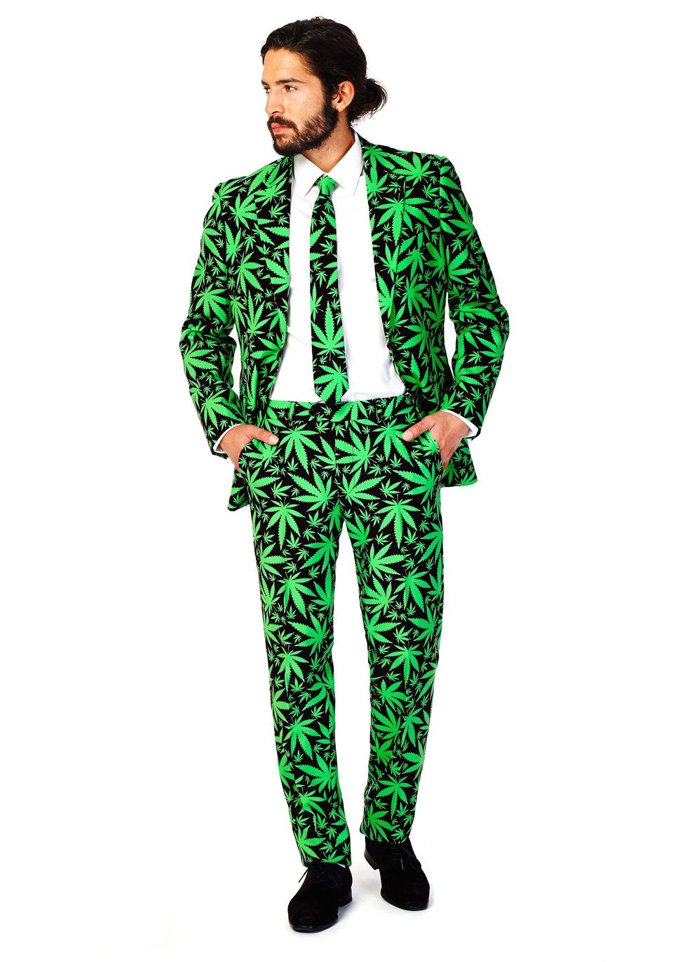 "Got an important date at 4:20? Show up in style with this pot-leaf decorated suit. <a href=""http://www.halloweencostumes.com/"