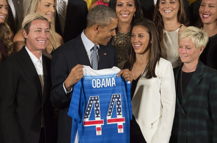 Here's President Barack Obama celebrating the U.S. Women's National Team winning the World Cup in 2015. They earned $2 m