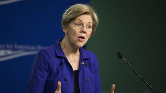 Senator Elizabeth Warren, a Democrat from Massachusetts, speaks during a U.S. Labor Department news conference at the Center for American Progress in Washington, D.C., U.S., on Wednesday, April 6, 2016. The Labor Department announced sweeping rules Wednesday that could transform the financial advice given to people saving for retirement by requiring brokers and advisers to put their clients' interest first. Photographer: Drew Angerer/Bloomberg via Getty Images