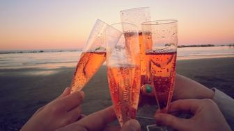 Four Caucasian friends toasting with champagne glasses on the beach, rose, sunset, orange, close-up, Rimini, Italy, Europe