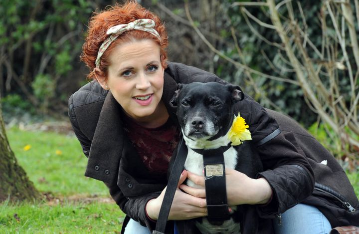 Lisa Johnson with her dog Marley