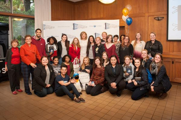 Arianna Huffington meets students at Dominican University of California.