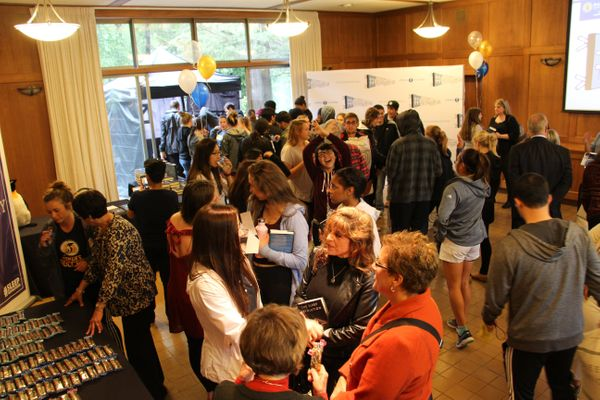 Students line up for the #SleepRevolution College Tour event at Dominican University of California.