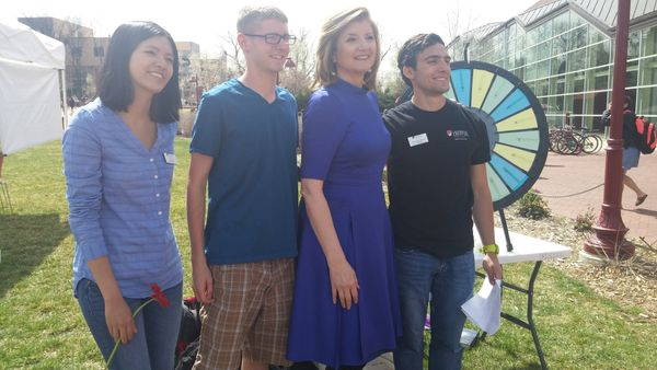 Arianna Huffington meets with University of Denver students.