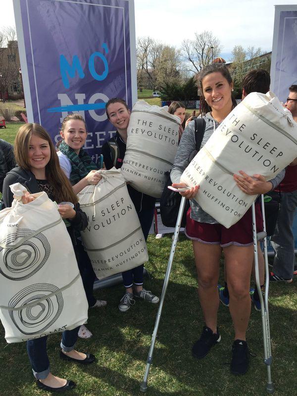 University of Denver students take home their #SleepRevolution totes.