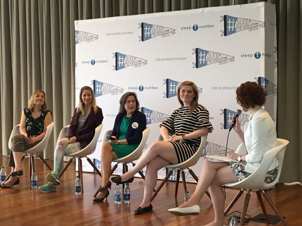 Georgetown's Health Communication Specialist Laura Marcucci moderatesa panel discussion about the importance of sleep t