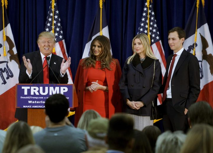 The New York Observer, owned by Donald Trump's son-in-law, Jared Kushner, far left, has endorsed the real estate mogul.