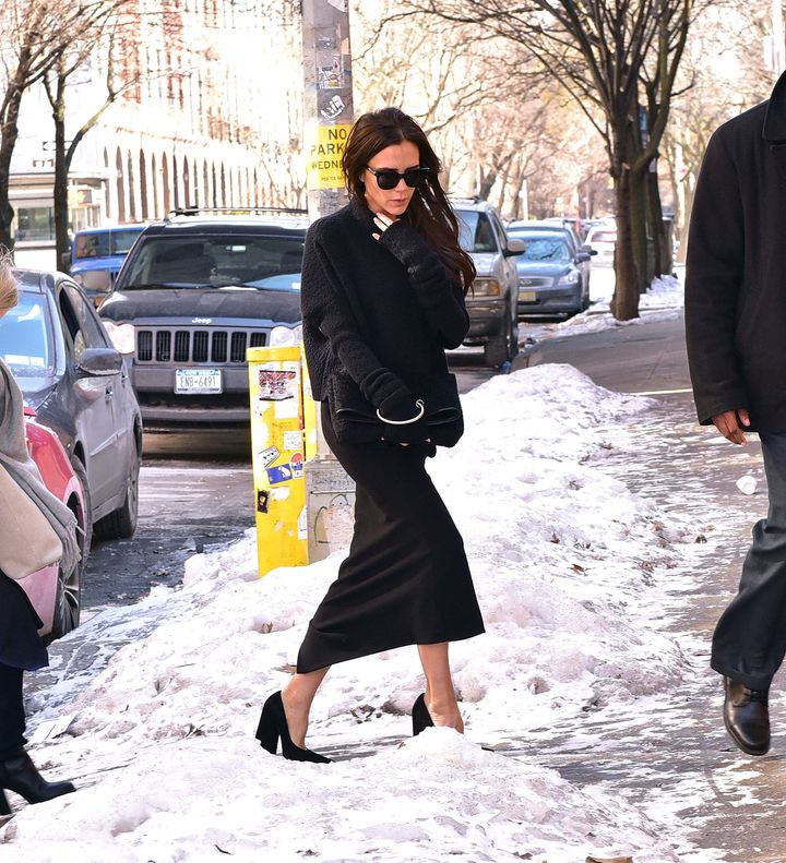 Victoria Beckham wears the most inappropriate shoes for the snow.