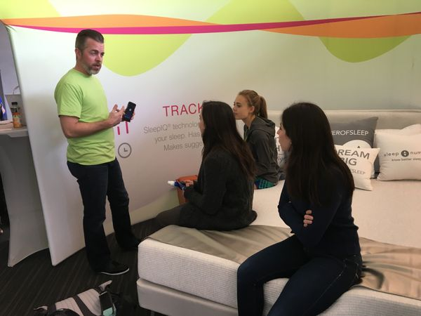 Georgetown students learn about Sleep Number's It Bed.