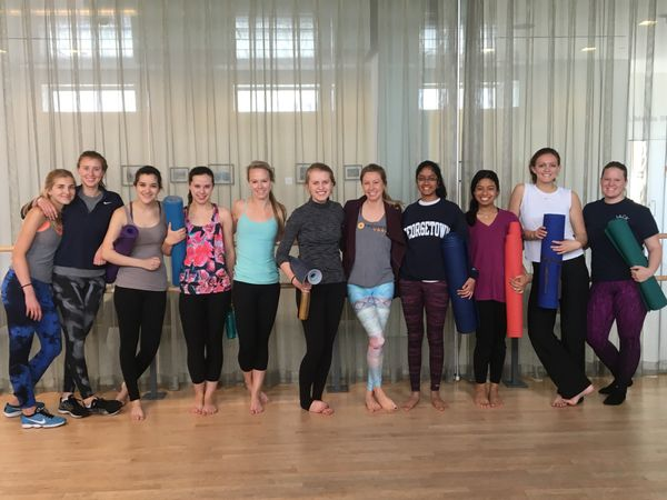 Georgetown students enjoy a free yoga class thanks to CorePower Yoga.