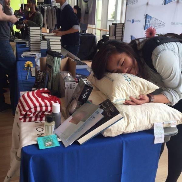 A UC Berkeley student grabs some Zzz's on Coco-Mat's Sleep Revolution pillow.