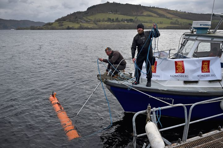 Kongsberg Maritime's underwater robot, which discovered the 98-foot model, is seen being operated in Loch Ness on Wednesday.