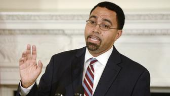 WASHINGTON, DC - OCTOBER 02: Deputy Education Secretary John B. King Jr. delivers remarks after being nominated by U.S. President Barack Obama to be the next head of the Education Department in the State Dining Room at the White House October 2, 2015 in Washington, DC. Obama praised the work of outgoing Education Secretary Arne Duncan, one of the few remaining members of the president's original cabinet. (Photo by Olivier Douliery - Pool/Getty Images)