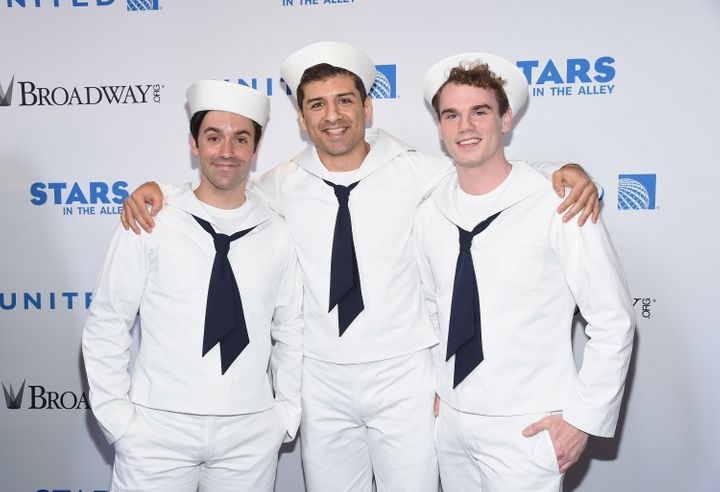 "Johnson (right) starred alongside Clyde Alves and Tony Yazbeck in the 2014 Broadway revival of ""On The Town."""