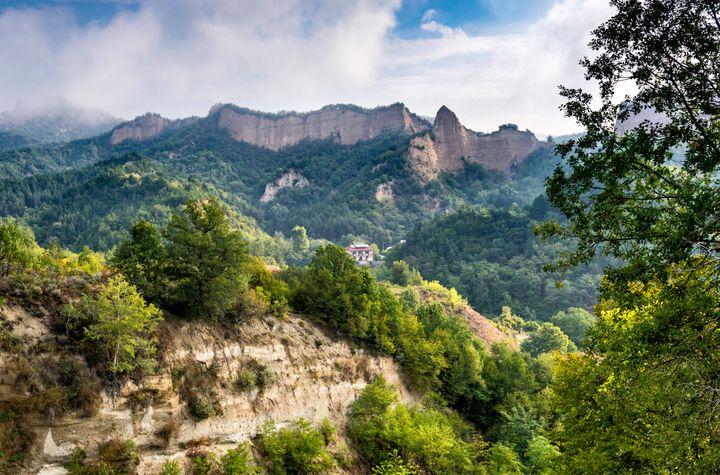 Sandstone rocks in Pirin Mountains near Rozhen Monastery.