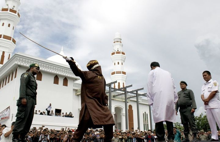 A 2014 caning in Banda Aceh.
