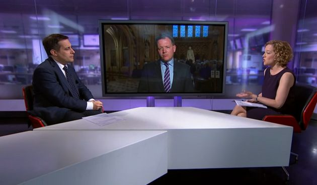 Evan Harris (left) was being interview by Channel 4 News' Cathy Newman (right), alongside Tory MPDamian...