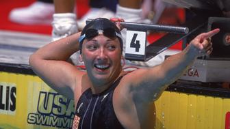 15 Aug 2000:  Amy Van Dyken gets into a celebratory mode after the Women's 50 meter Freestyle Finals during the U.S. Olympic Swim Trials at the Indianapolis University Natatorium in Indianapolis, Indiana.Mandatory Credit: Al Bello  /Allsport