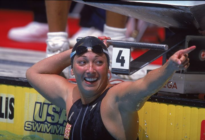Amy Van Dyken smilesafter the Women's 50 meter Freestyle Finals during the U.S. Olympic Swim Trials in Indianapolis in