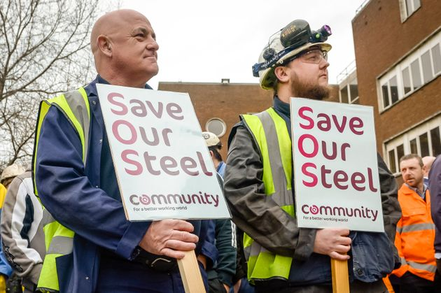 Port Talbot workers outside their steel