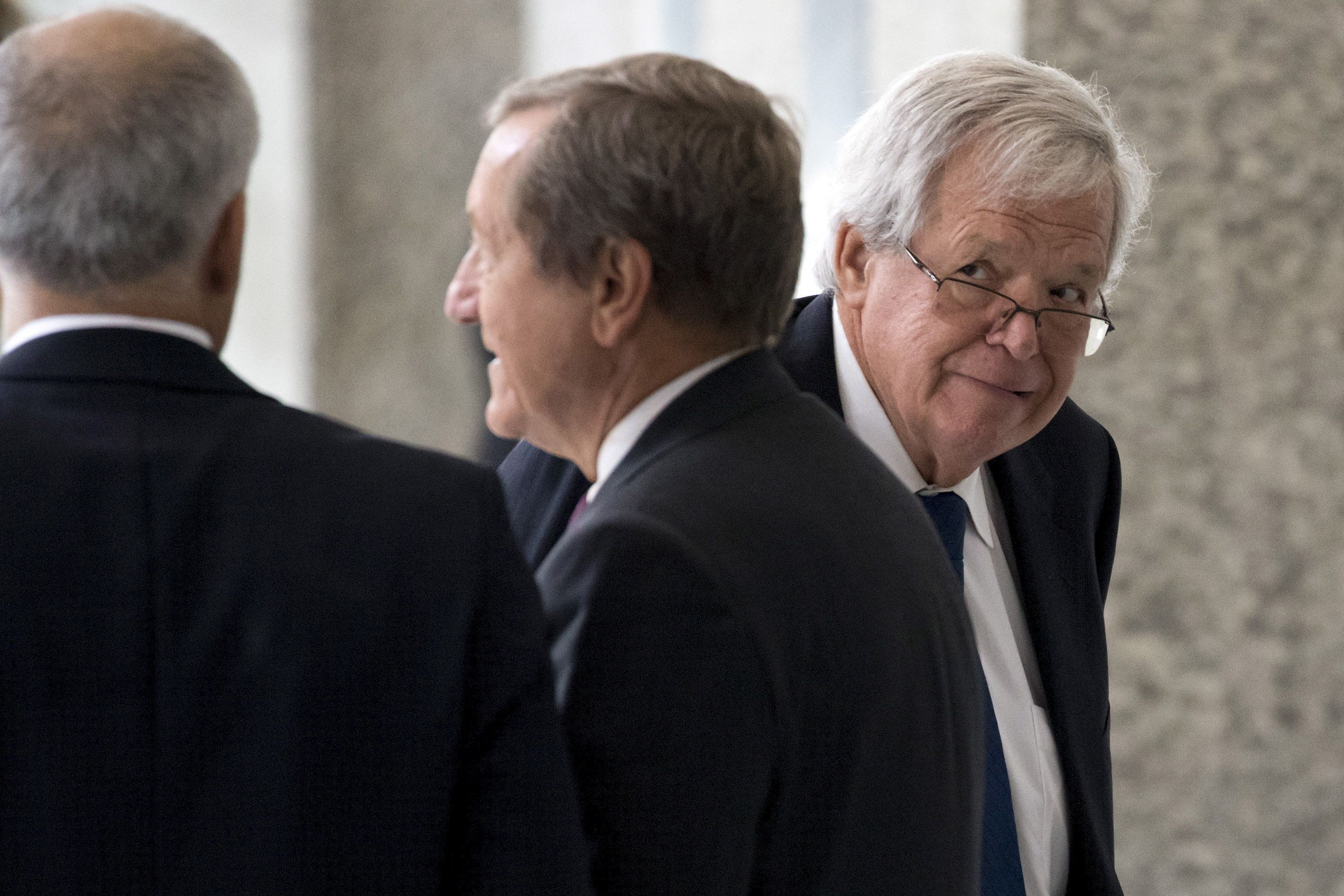 Former U.S. House of Representatives Speaker Dennis Hastert arrives for an appearance in federal court in Chicago June 9, 2015. Hastert is due to be arraigned in federal court in Chicago on Tuesday on charges of trying to hide large cash transactions and lying to the FBI about it. According to an indictment, Hastert, 73, was trying to evade detection of $3.5 million in payments he had promised to make to someone from his hometown of Yorkville, Illinois, to conceal past misconduct against the person. REUTERS/Andrew Nelles      TPX IMAGES OF THE DAY