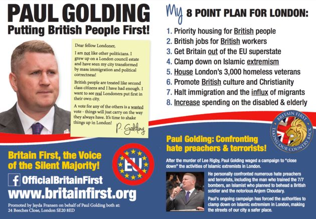 Britain First's London Mayoral Campaign Isn't Going Very