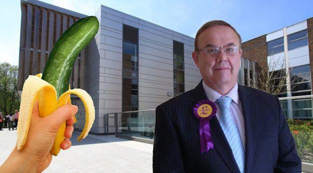 Ukip Councillor John Perry Brandishes Cucumber And Banana In Hopes Of Convincingt Havant Borough Council...