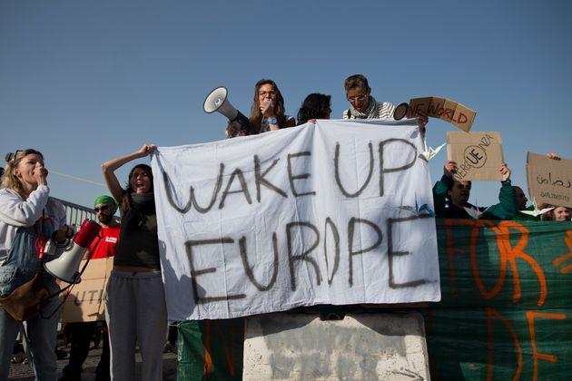 Migrants protesting against EU