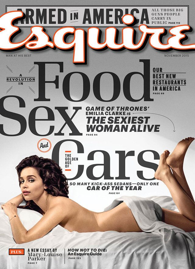 "Emilie Clarke on the cover of Esquire's 2015 ""Sexiest Woman Alive"" issue."