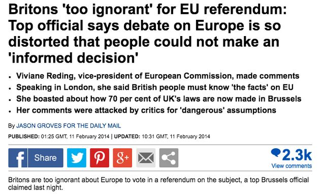 EU Referendum Campaign 'Grassroots Out' Confuses Daily Mail Story For Actual Quote ByBrussels