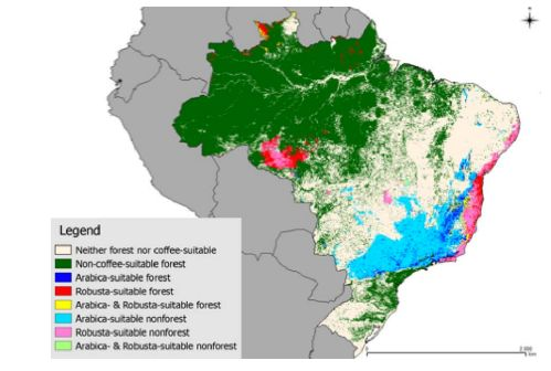 Dark green represents forests not suitable for growing coffee. Different colors represent areas where certain types of coffee