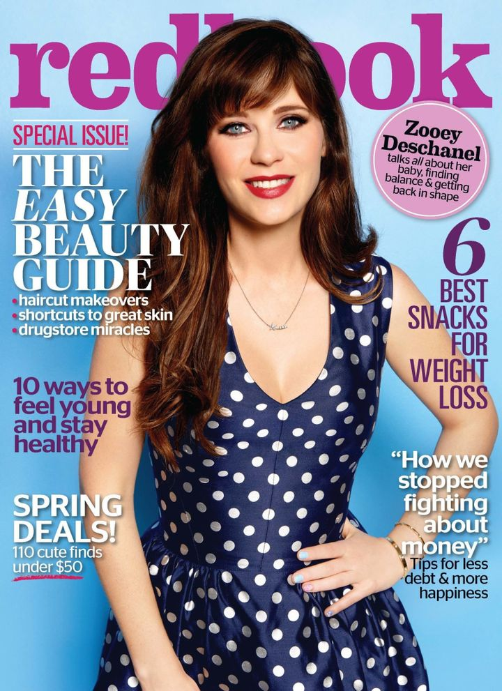Deschanel appears on the May cover of Redbook.