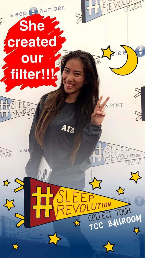USC sophomore Beverly Pham designed this incredible Snapchat filter for the #SleepRevolution College Tour.